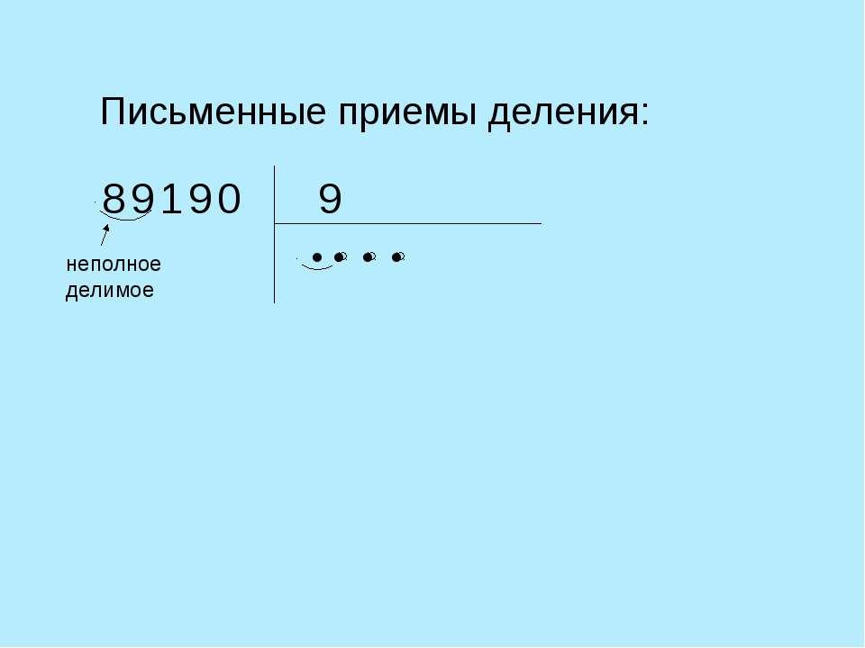 Письменные приемы деления: 9 неполное делимое ● 0 1 8 9 9 ● ● ●