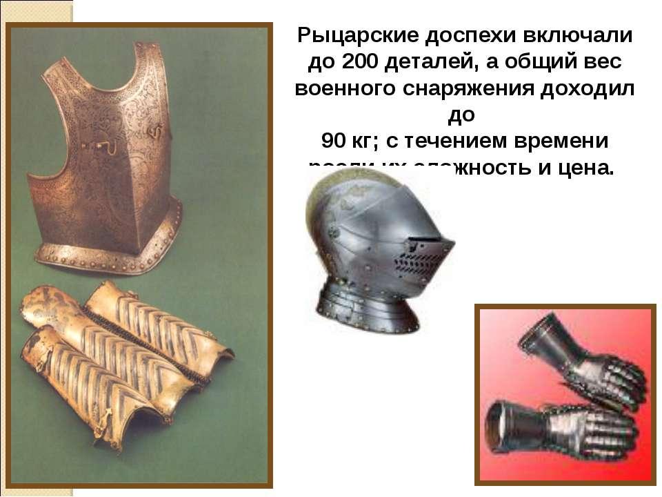 Рыцарские доспехи включали до 200 деталей, а общий вес военного снаряжения до...
