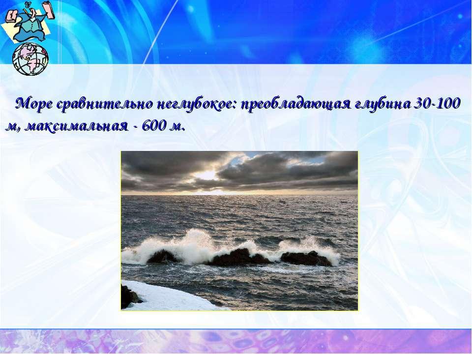 Море сравнительно неглубокое: преобладающая глубина 30-100 м, максимальная - ...