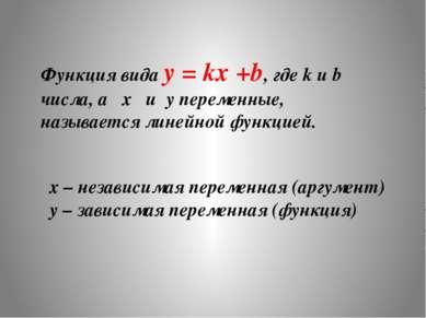Функция вида y = kx +b, где k и b числа, а x и y переменные, называется линей...