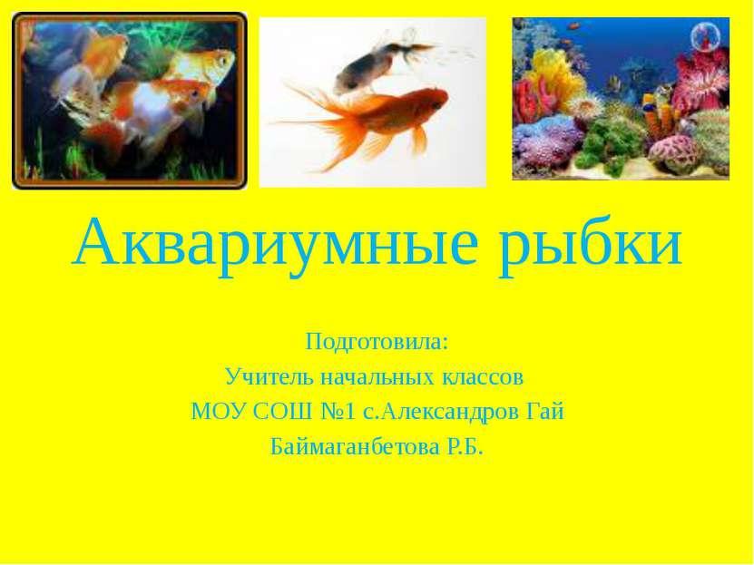 Аквариумные рыбки Подготовила: Учитель начальных классов МОУ СОШ №1 с.Алексан...