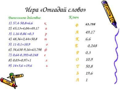 Игра «Отгадай слово» Выполните действие 1). 57,4-50,8=6,6 к 2). 45,13+4,04=49...