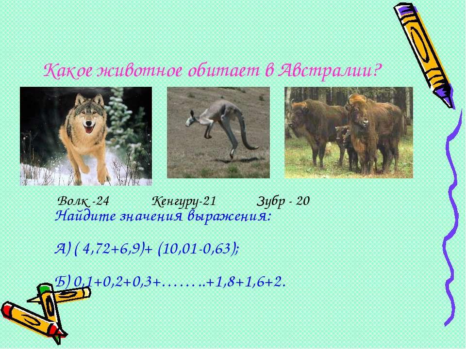 Какое животное обитает в Австралии? Волк -24 Кенгуру-21 Зубр - 20 Найдите зна...