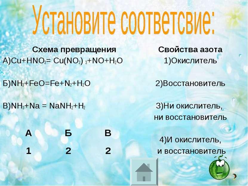 Схема превращения А)Cu+HNO3= Cu(NO3) 3+NO+H2O Б)NH3+FeO=Fe+N2+H2O В)NH3+Na = ...