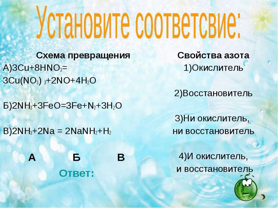 Схема превращения А)3Cu+8HNO3= 3Cu(NO3) 3+2NO+4H2O Б)2NH3+3FeO=3Fe+N2+3H2O В)...