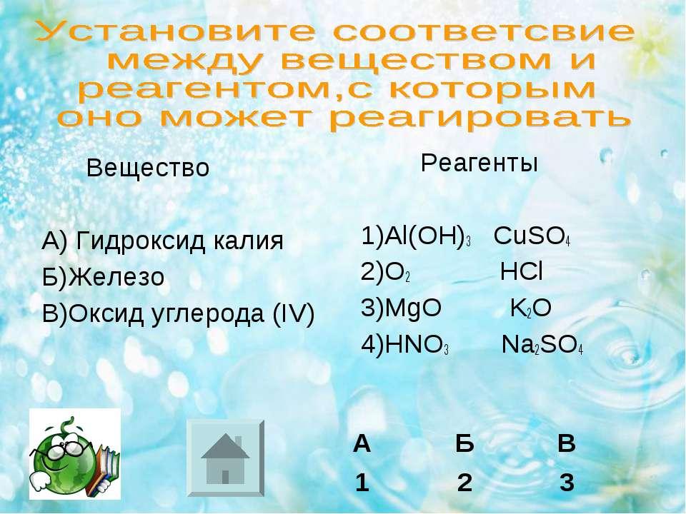 Вещество А) Гидроксид калия Б)Железо В)Оксид углерода (IV) Реагенты 1)Al(OH)3...
