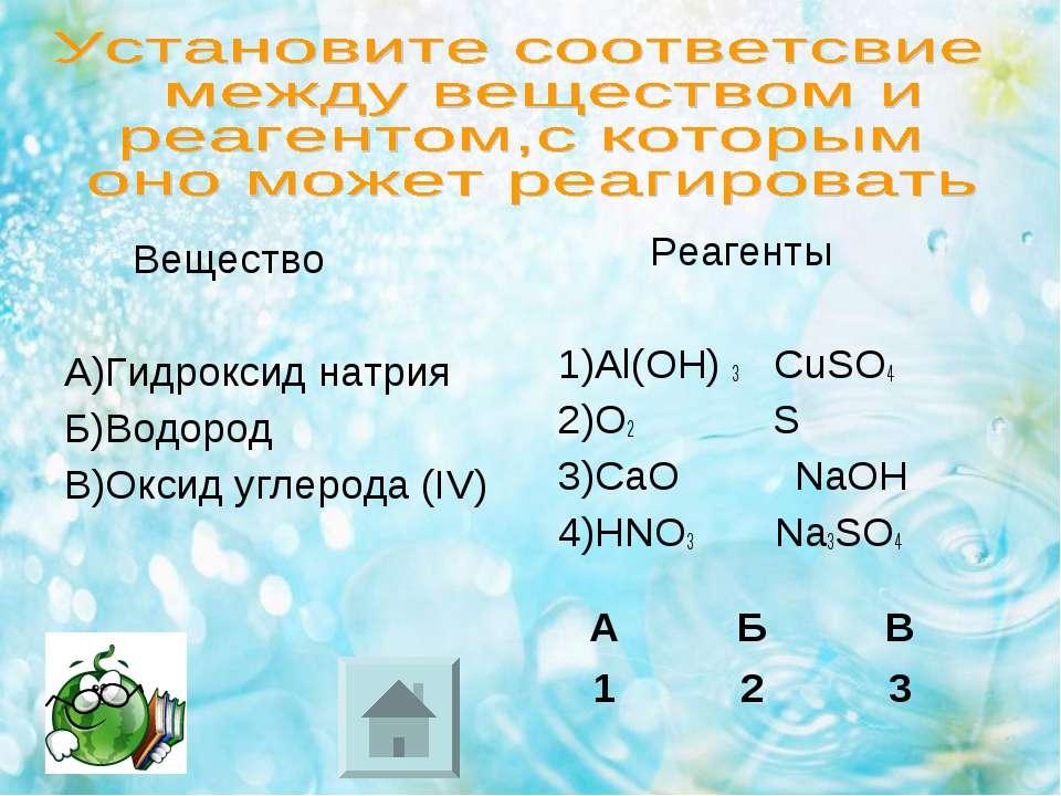 Вещество А)Гидроксид натрия Б)Водород В)Оксид углерода (IV) Реагенты 1)Al(OH)...