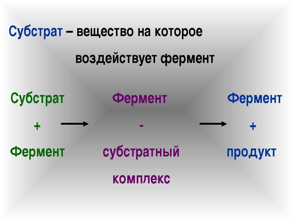 Субстрат – вещество на которое воздействует фермент Субстрат + Фермент Фермен...