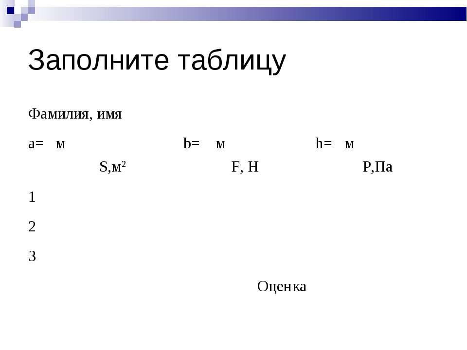 Заполните таблицу Фамилия, имя a= м b= м h= м S,м2 F, Н P,Па 1 2 3 Оценка