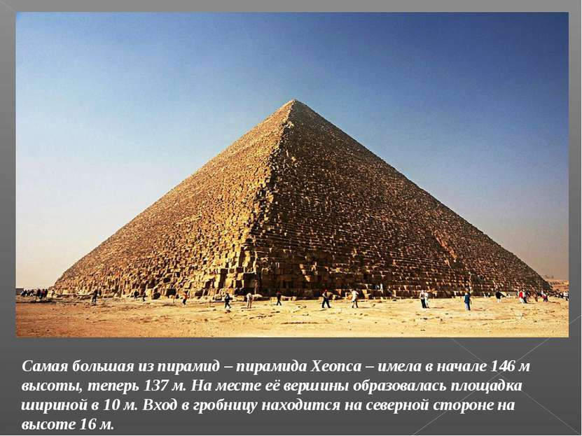 Самая большая из пирамид – пирамида Хеопса – имела в начале 146 м высоты, теп...