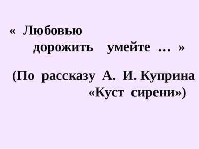 « Любовью дорожить умейте … » (По рассказу А. И. Куприна «Куст сирени»)