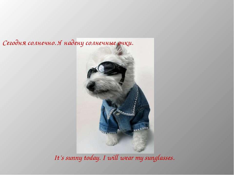 Сегодня солнечно. Я надену солнечные очки. It's sunny today. I will wear my s...