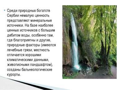 Среди природных богатств Сербии немалую ценность представляют минеральные ист...