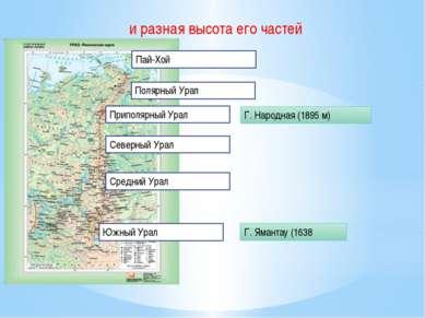 и разная высота его частей Пай-Хой Полярный Урал Приполярный Урал Северный Ур...