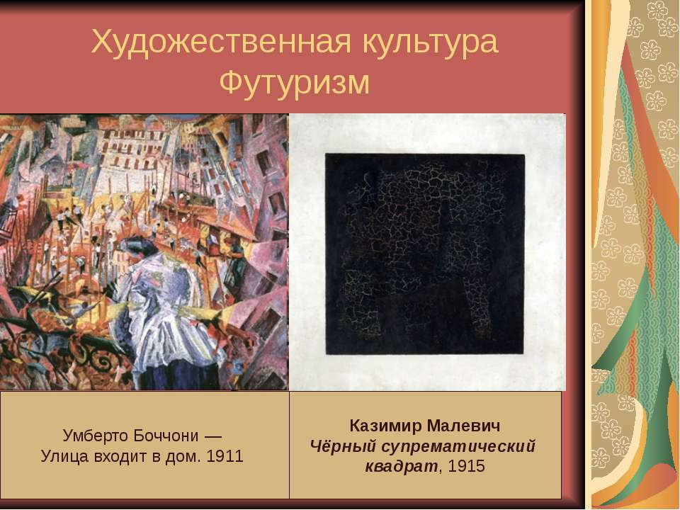 Художественная культура Футуризм Футуризм — стиль, зародившийся в начале века...