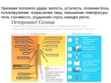 Признаки Признаки теплового удара: вялость, усталость, головная боль, головок...