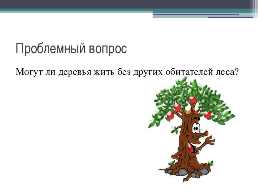 Проблемный вопрос Могут ли деревья жить без других обитателей леса?