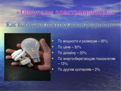 По мощности и размерам – 35%; По цене – 30%; По дизайну – 20%; По энергосбере...