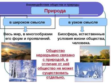Взаимодействие общества и природы Весь мир, в многообразии его форм и проявле...