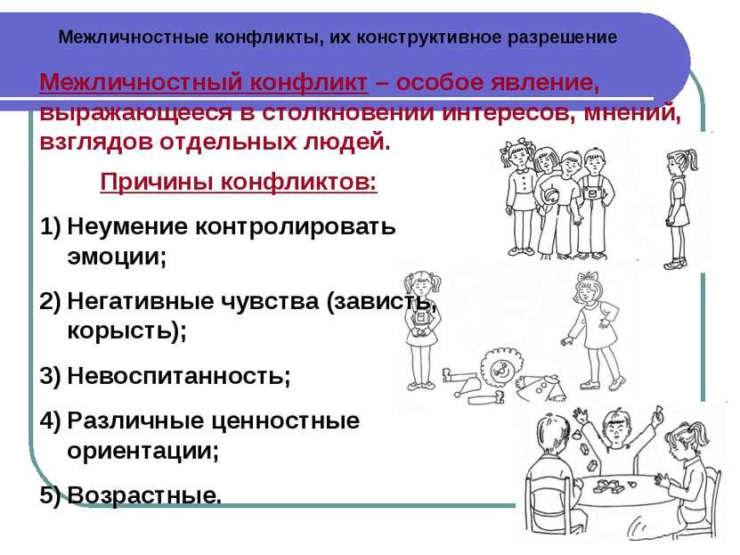 Межличностные конфликты, их конструктивное разрешение Межличностный конфликт ...