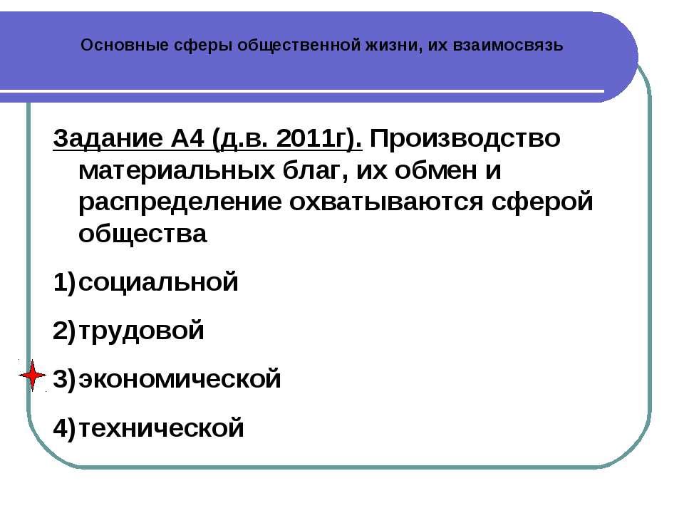 Основные сферы общественной жизни, их взаимосвязь Задание А4 (д.в. 2011г). Пр...