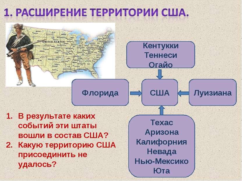 США Кентукки Теннеси Огайо Техас Аризона Калифорния Невада Нью-Мексико Юта Фл...