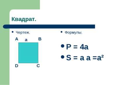 Квадрат. Чертеж. Формулы. P = 4a S = a a =a² A B C D a