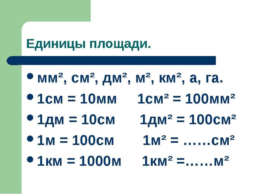 Единицы площади. мм², см², дм², м², км², а, га. 1см = 10мм 1см² = 100мм² 1дм ...