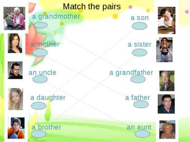 a grandmother a mother an uncle a daughter a brother a son a sister a grandfa...