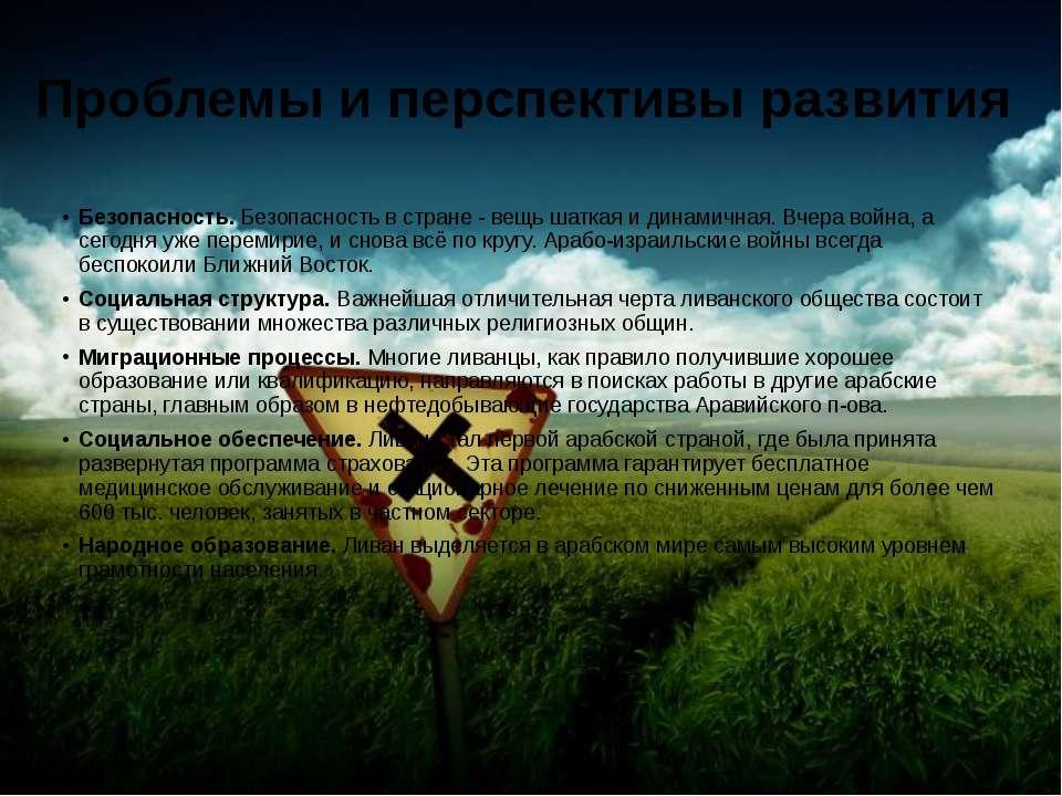 Проблемы и перспективы развития Безопасность. Безопасность в стране - вещь ша...