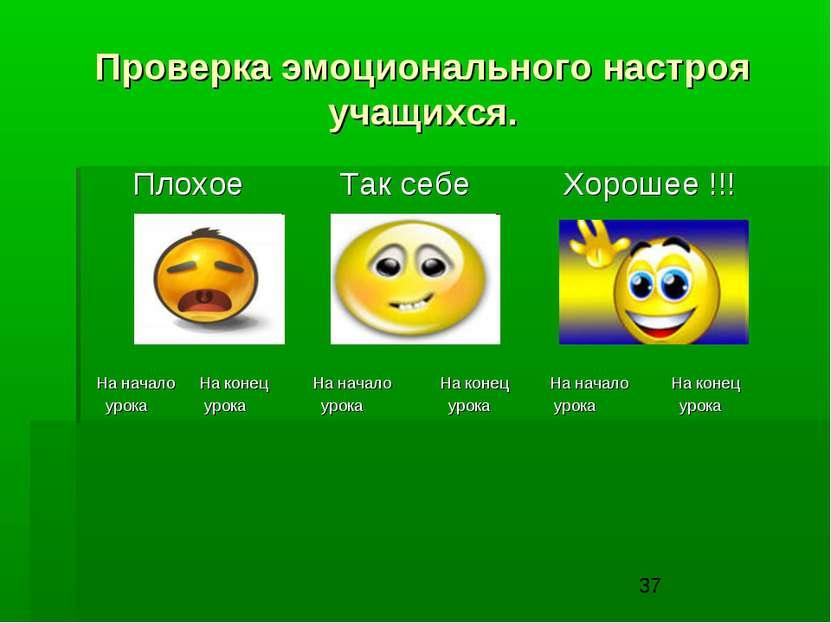 Проверка эмоционального настроя учащихся. Плохое Так себе Хорошее !!! На нача...