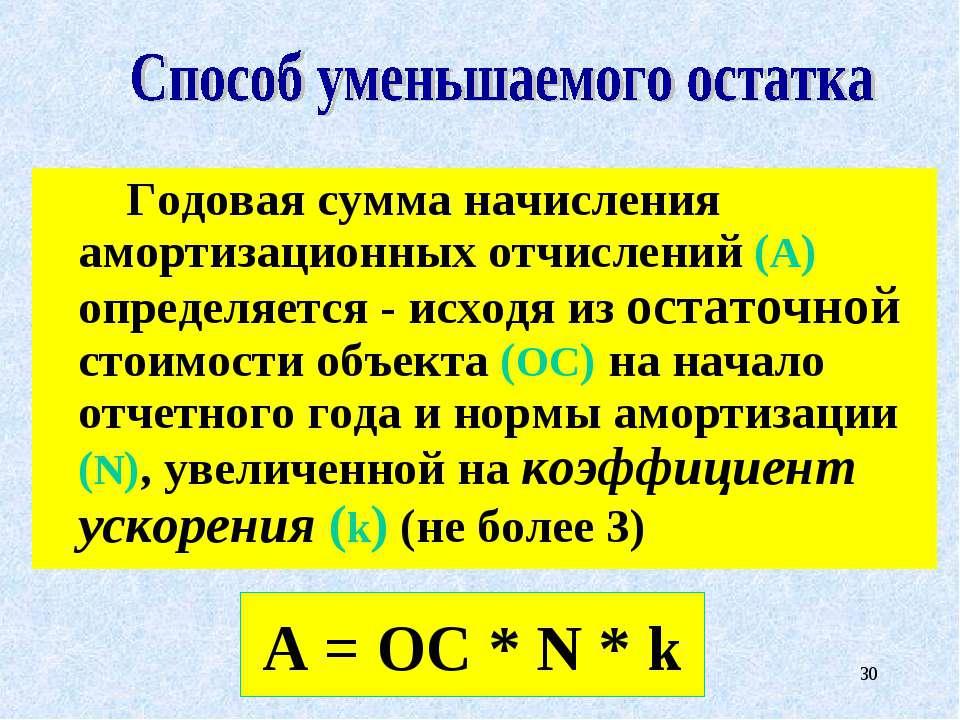 * Годовая сумма начисления амортизационных отчислений (А) определяется - исхо...