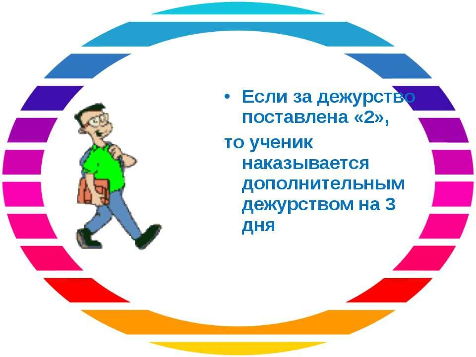 Если за дежурство поставлена «2», то ученик наказывается дополнительным дежур...