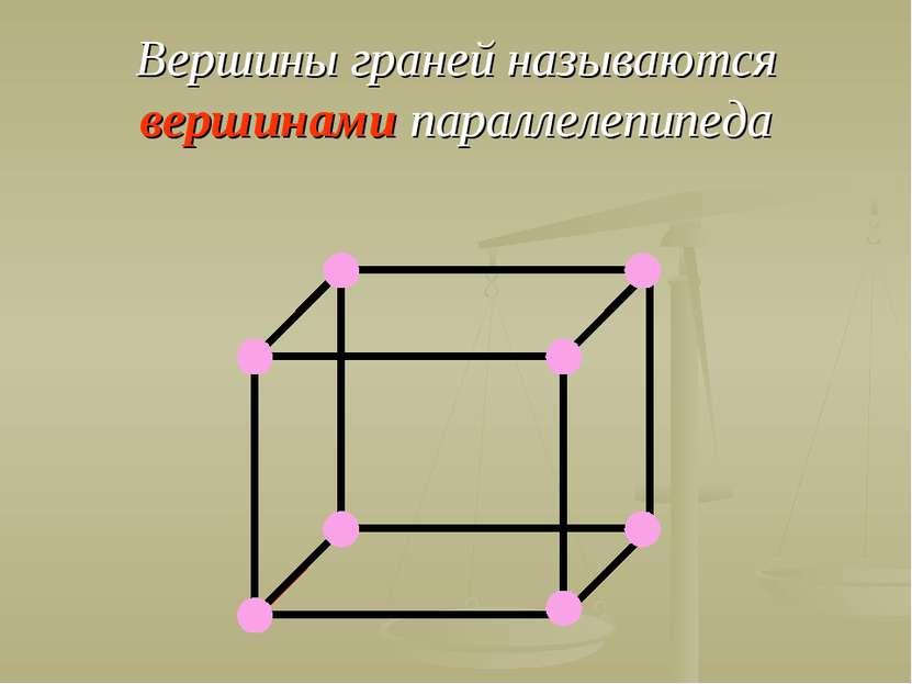 Вершины граней называются вершинами параллелепипеда