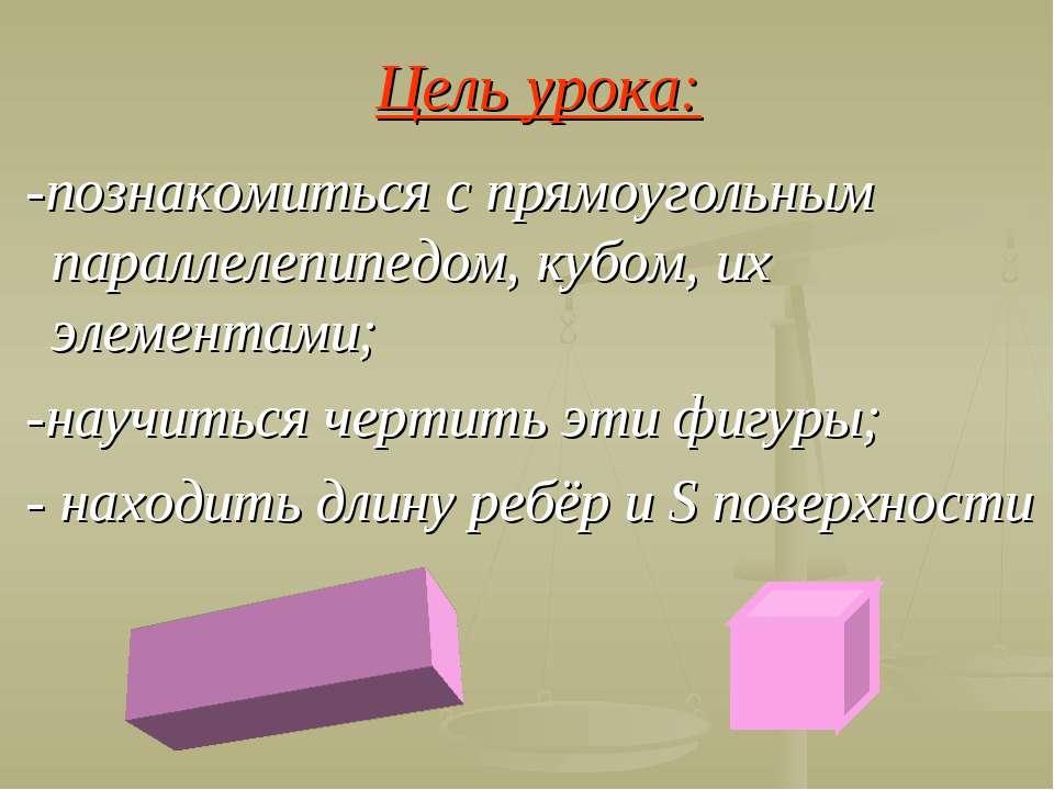 Цель урока: -познакомиться с прямоугольным параллелепипедом, кубом, их элемен...