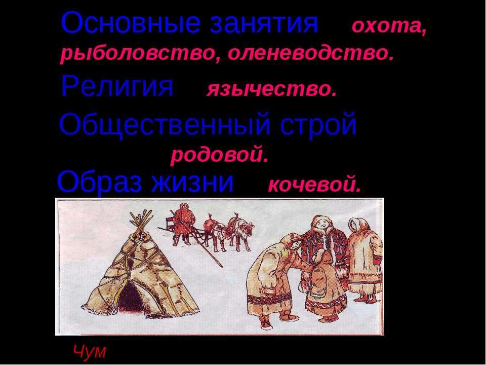 Чум- жилище сибирских кочевых народов. Основные занятия – охота, рыболовство,...