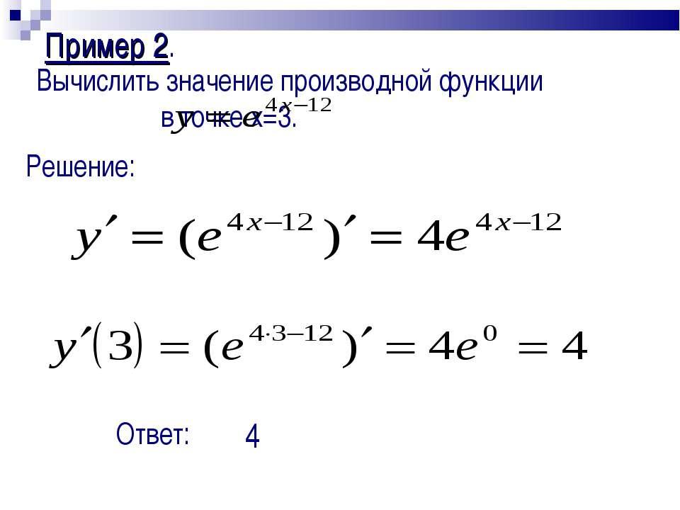 Пример 2. Вычислить значение производной функции в точке x=3. Решение: Ответ: 4