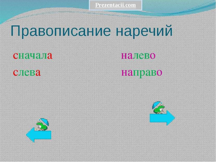 Правописание наречий сначала налево слева направо Prezentacii.com