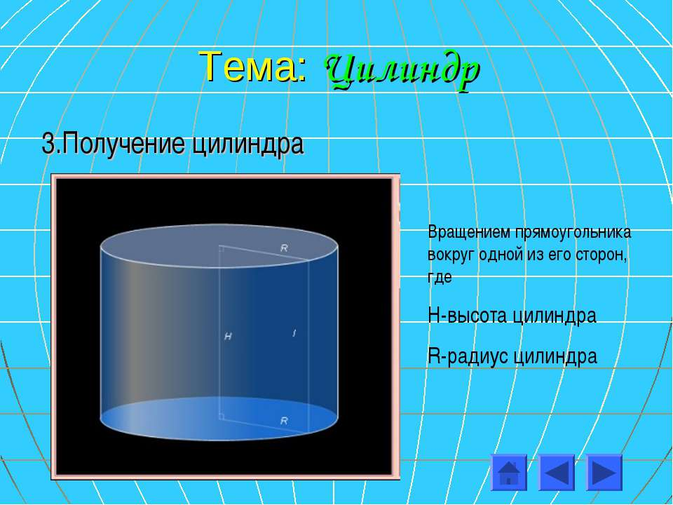 Тема: Цилиндр 3.Получение цилиндра Вращением прямоугольника вокруг одной из е...