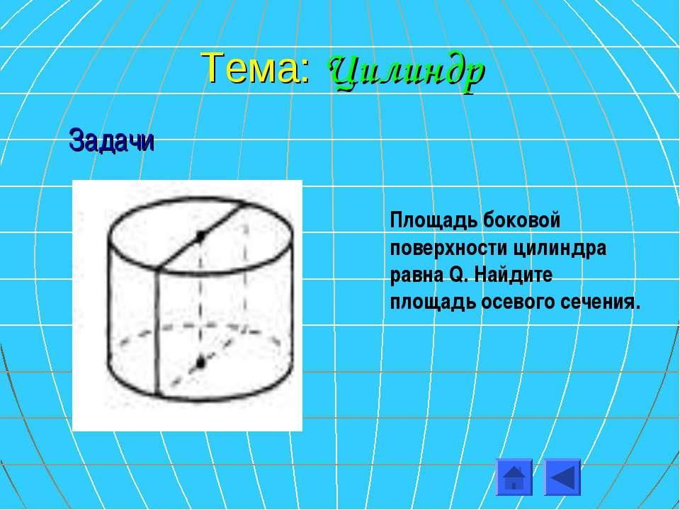 Тема: Цилиндр Площадь боковой поверхности цилиндра равна Q. Найдите площадь о...