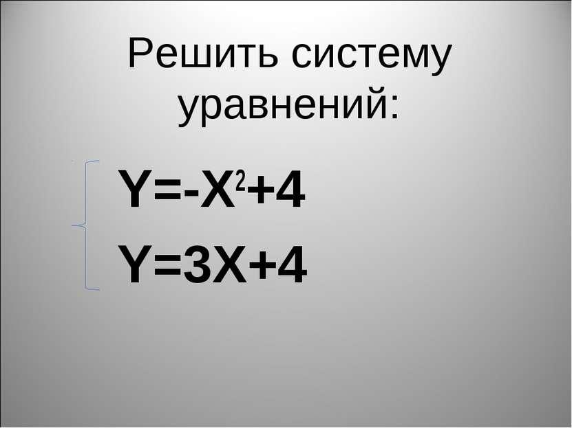Решить систему уравнений: Y=-X2+4 Y=3X+4