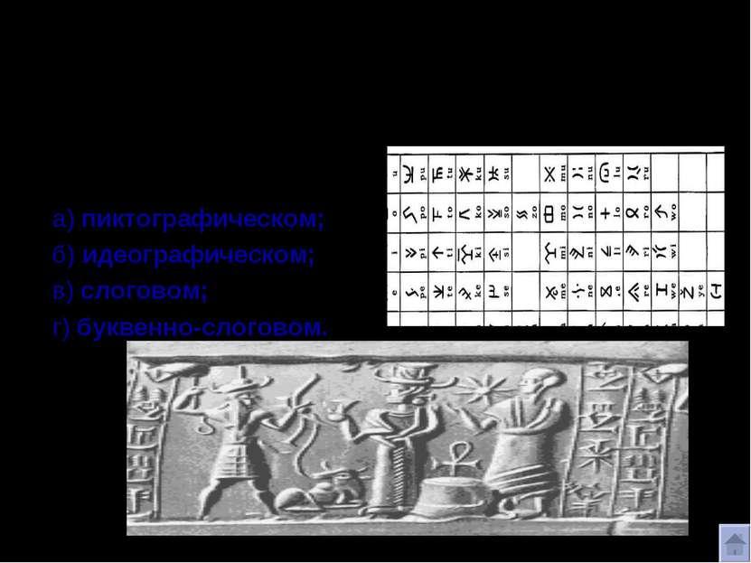 ВИДЫ ПИСЬМА История повествует о четырех видах письма: а) пиктографическом; б...