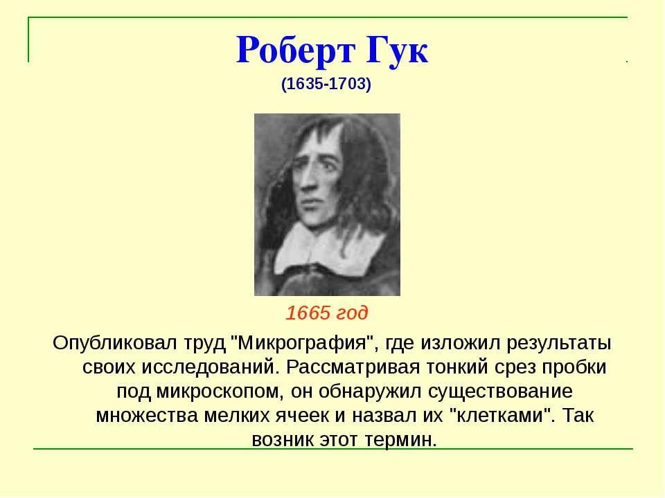 """Роберт Гук 1665 год  Опубликовал труд """"Микрография"""", где изложил результаты ..."""