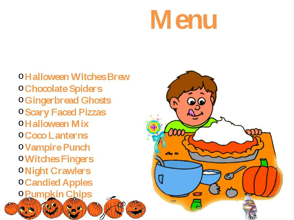 Menu Halloween Witches Brew Chocolate Spiders Gingerbread Ghosts Scary Faced ...