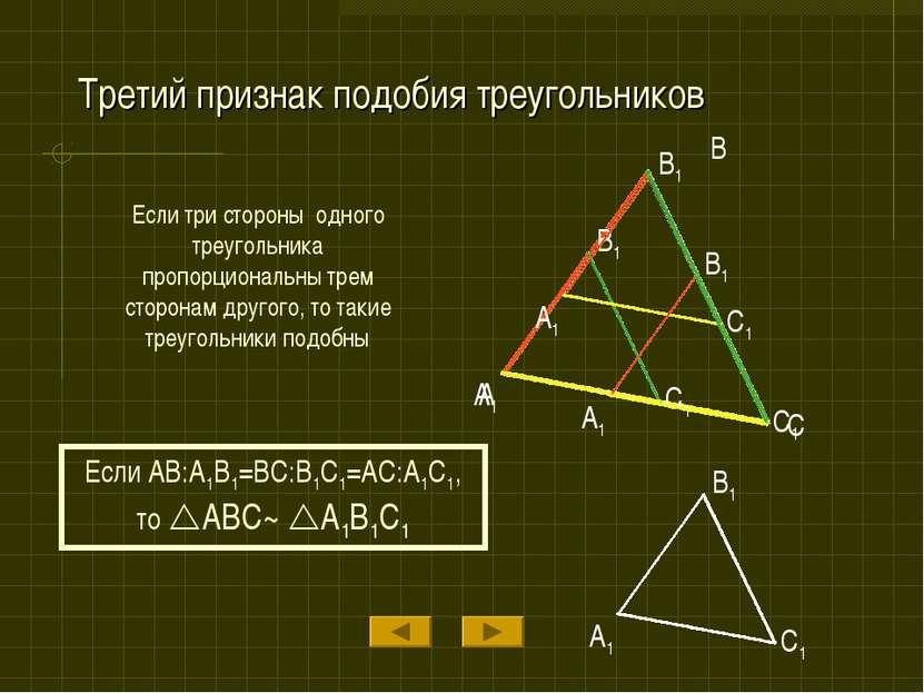 Третий признак подобия треугольников Если три стороны одного треугольника про...