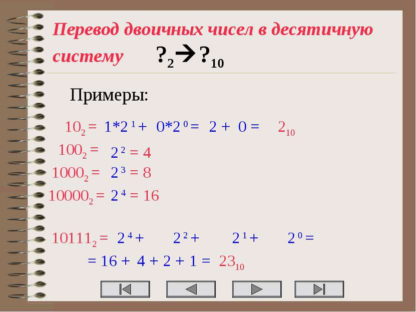 Перевод двоичных чисел в десятичную систему ?2 ?10 Примеры: 102 = 1*2 1 + 0*2...