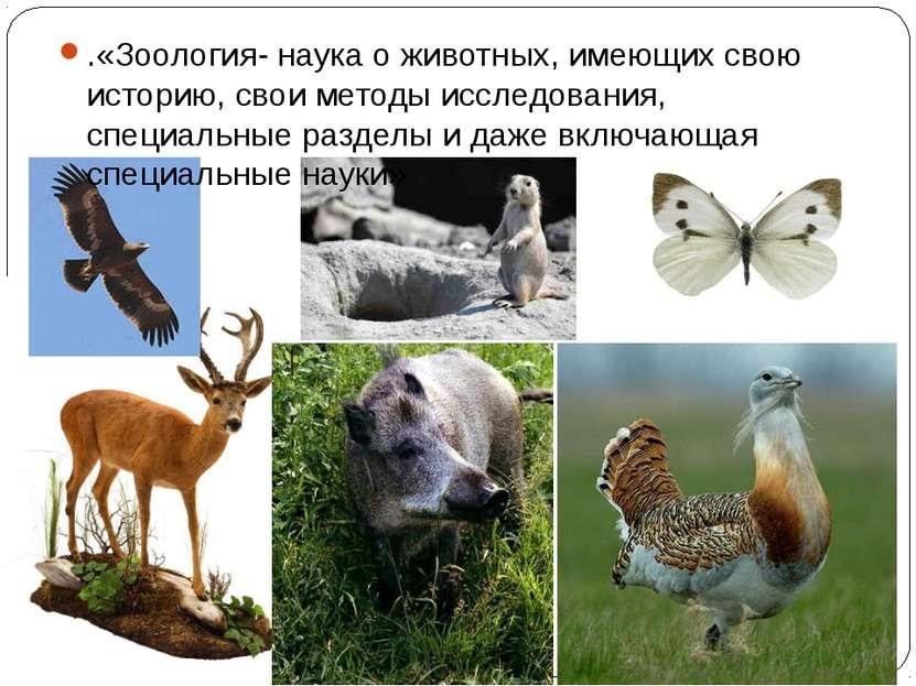 .«Зоология- наука о животных, имеющих свою историю, свои методы исследования,...
