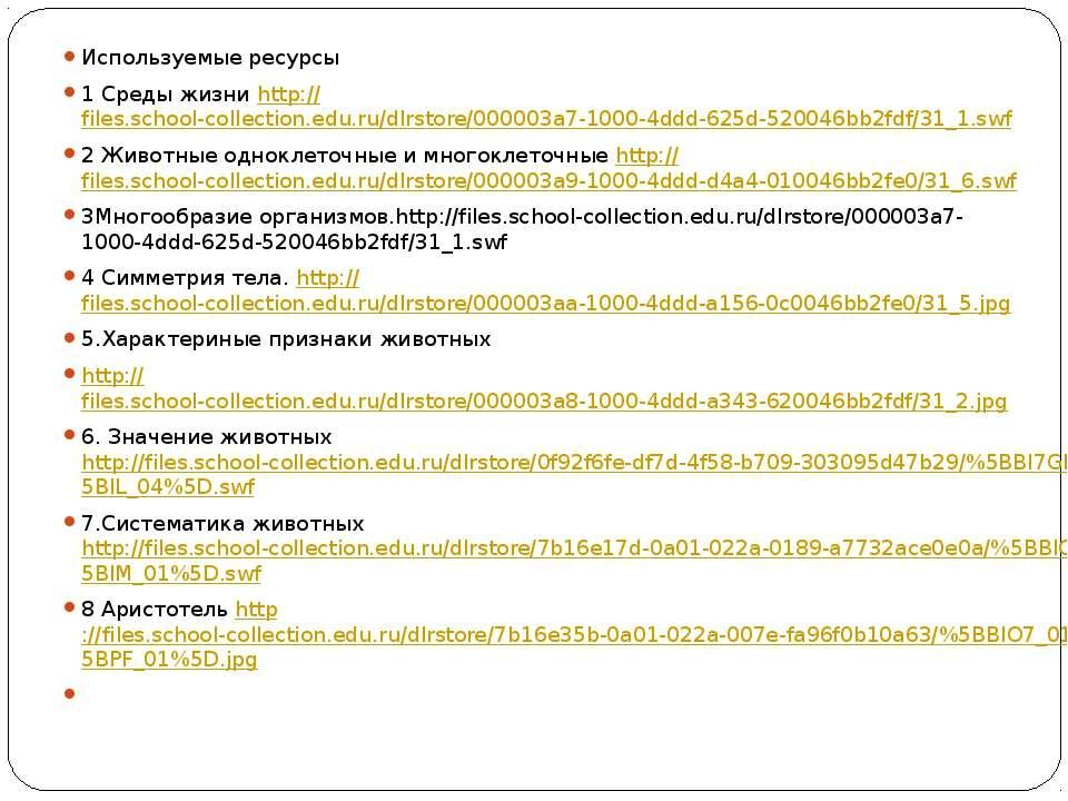 Используемые ресурсы 1 Среды жизни http://files.school-collection.edu.ru/dlrs...