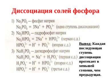 Диссоциация солей фосфора Вывод: Каждая последующая ступень диссоциации проте...