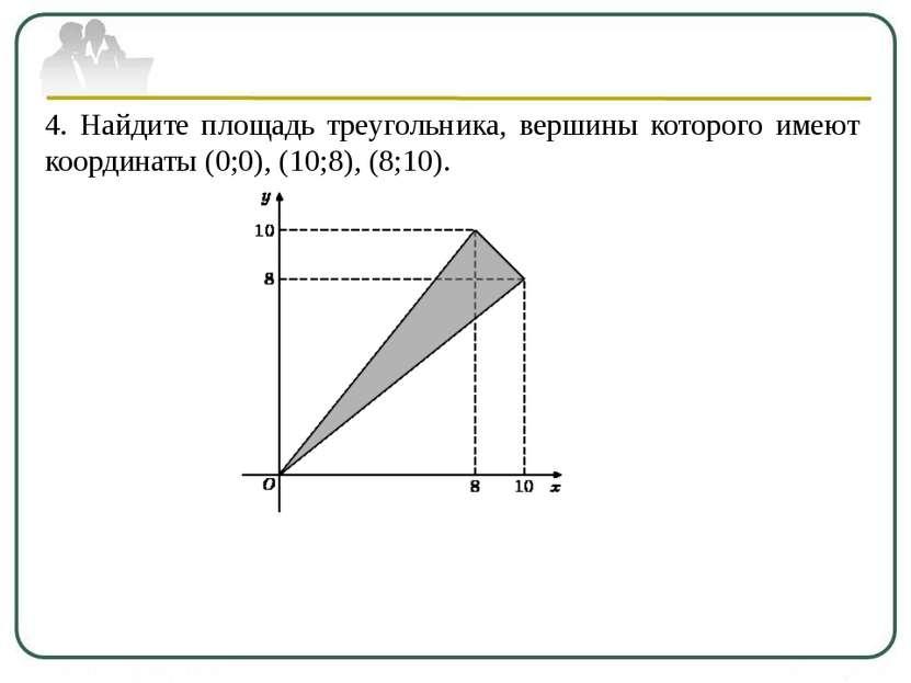 4. Найдите площадь треугольника, вершины которого имеют координаты (0;0), (10...